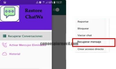 apariencia aplicacion restore chat wa